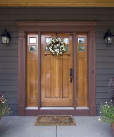 Craftsman Front Door with exterior tile floors, Pathway, French doors SW Carnelian, SW