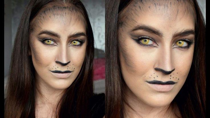 maquillage Halloween femme et idées make up chat sexy avec ombres à paupières noires et lentilles jaunes