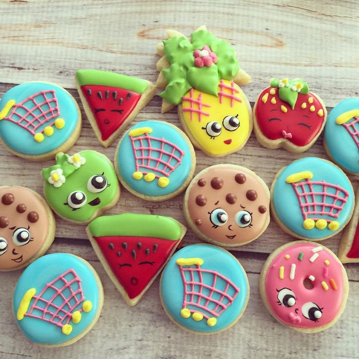 Mini Shopkins!  #decoratedsugarcookies... - Flying Squirrel Cookies