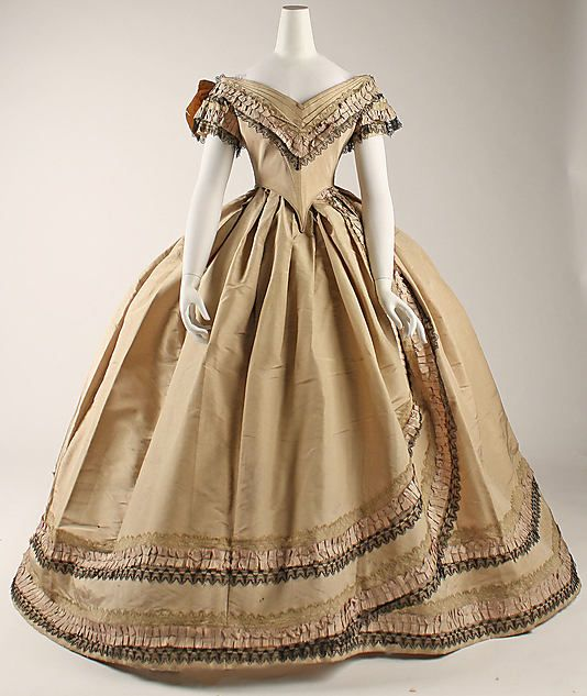 Plain weave or taffetaCivil Wars, Evening Dresses, 1860 64, Ball Gowns, 1860 S, 1860 1864, 1860S, Metropolitan Museums, Vintage Clothing