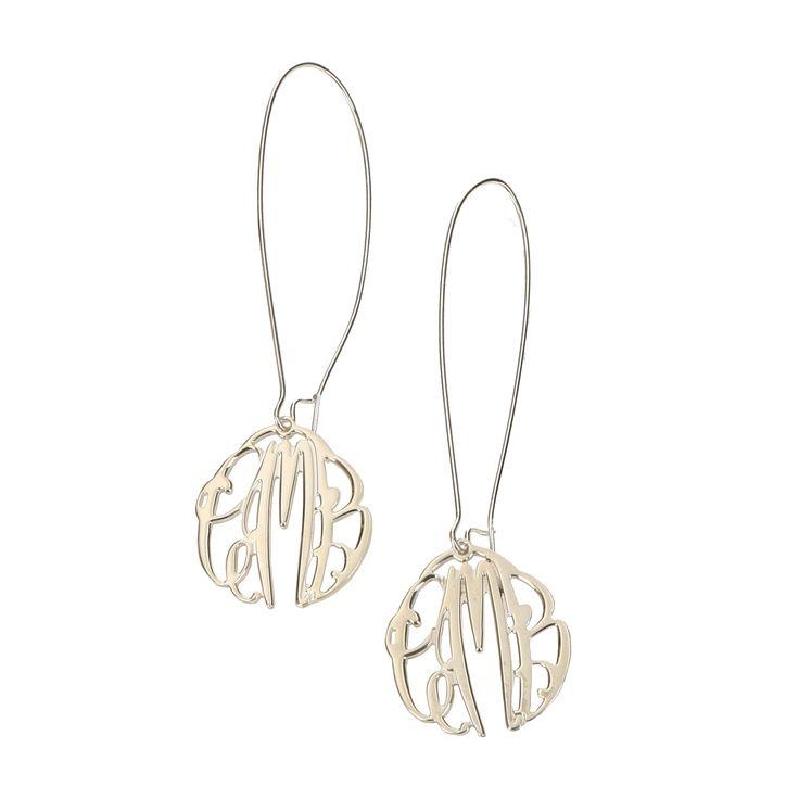 Personalized Monogram Sterling Silver Elizabeth Filigree Dangle Earrings