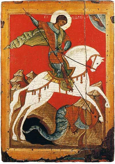 St George and the Dragon Novgorod, Late 14th—early 15th centuries  58 × 41.5 cm  The Russian Museum, St Petersburg, Russia
