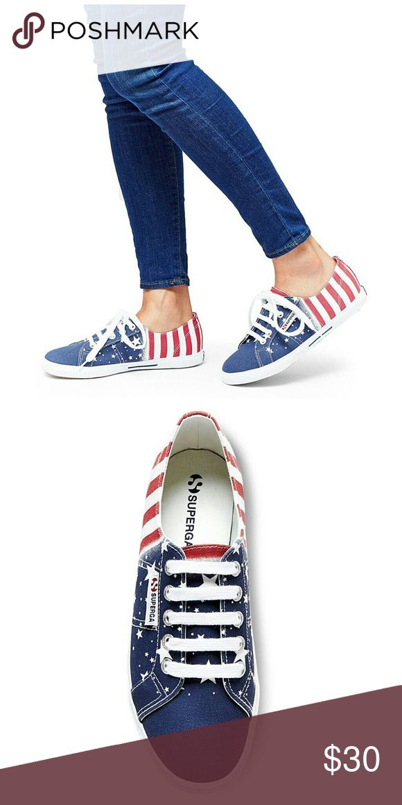 SUPERGA Tennis Shoes Patriotic Flag Retro 7 SUPERGA Tennis Shoes 37 1/2  Womens 7, new without box.  Poshmark size chart recommended that this pair of sneakers are size  7 1/2.  However,  they are tagged as size 7. Superga Shoes Sneakers