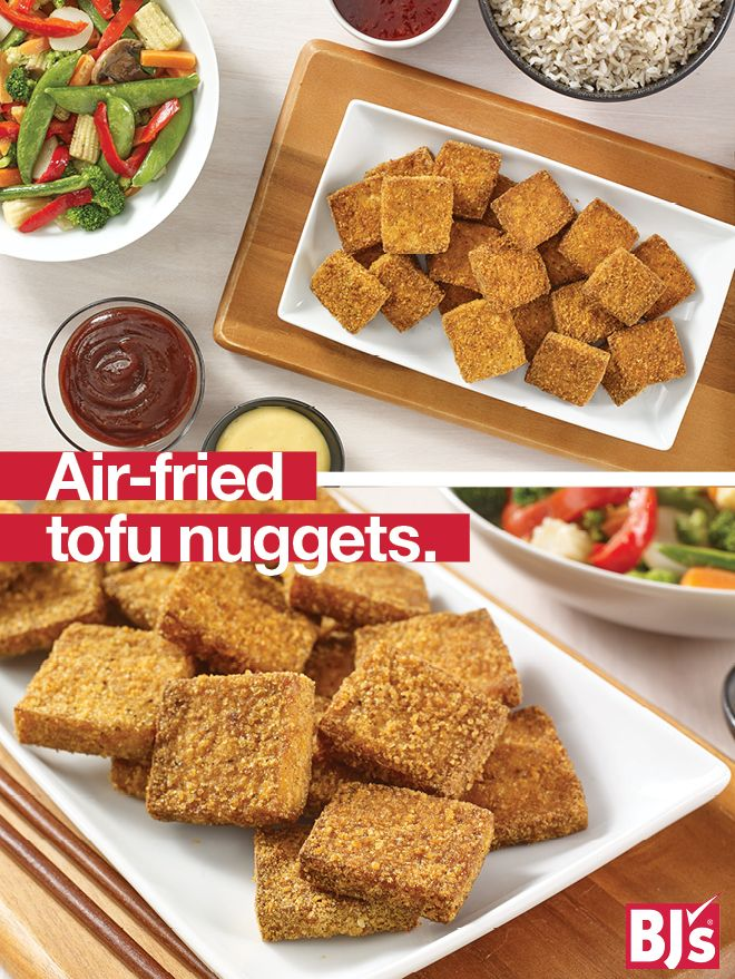 Air-Fried Tofu Nuggets - Family-friendly recipe for meatless Mondays. Great chicken nuggets alternative. http://stocked.bjs.com/food/air-fried-tofu-nuggets