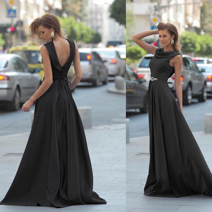 Rochie de seara Artista neagra din material satinat fara maneci Pret: 369.00 Lei - https://goo.gl/d4d24b #rochii2017 #rochiiieftine #rochiedeseara #blackdress #sexydress