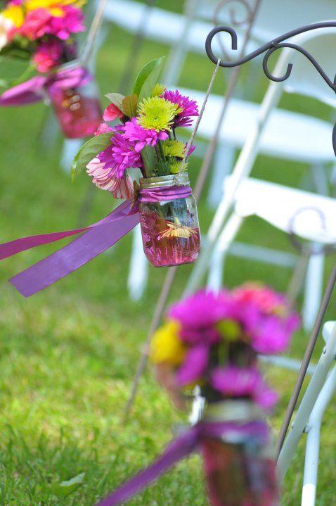 Hanging mason jars with flowers