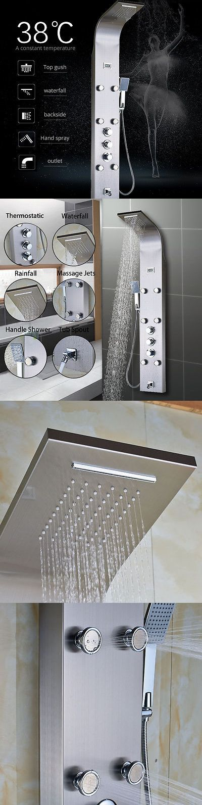 Shower Panels and Massagers 121849: Stainless Steel Thermostatic Shower Tower Panel Message Jets W Hand Shower Tap -> BUY IT NOW ONLY: $115 on eBay!