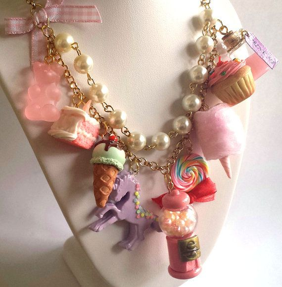 Statement Necklace Kawaii Candy Shop Necklace Dessert Necklace Cotton Candy Pink Gumball Machine Purple Unicorn Couture Necklace by FatallyFeminine, $85.00