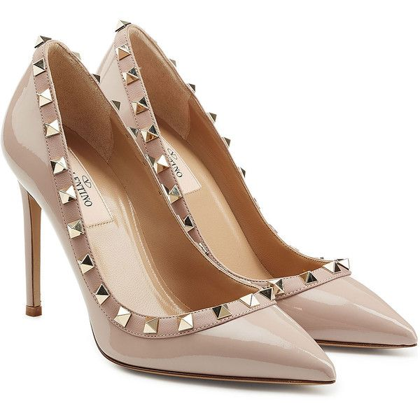 Valentino Rockstud Patent Leather Pumps (£365) ❤ liked on Polyvore featuring shoes, pumps, heels, rose, rose shoes, nude patent shoes, nude shoes, pointy shoes and nude heel shoes
