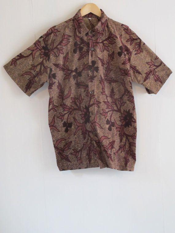 Vintage tropical batik shirt. Slouchy maroon by SwanDiveVintage, $35.00