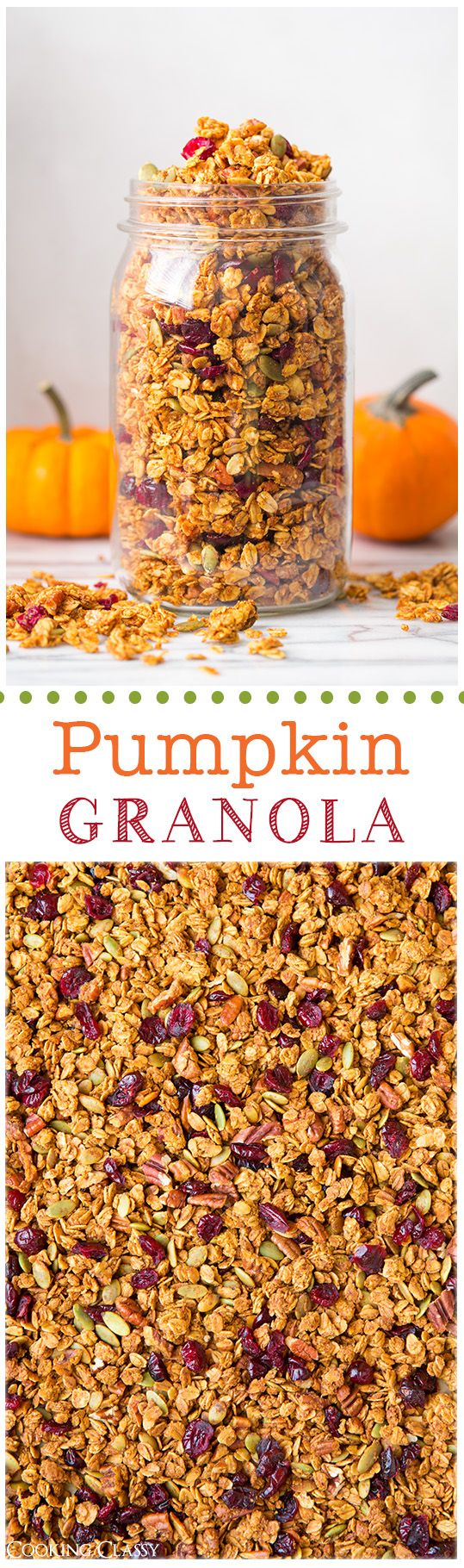 Pumpkin Granola - this is DELICIOUS! All the flavors of fall in one perfectly crunchy bowl of granola. #pumpkin #granola #fall