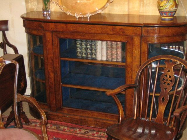 BURR WALNUT BOW FRONT CREDENZA/DISPLAY CABINET For Sale | Antiques.com | Classifieds