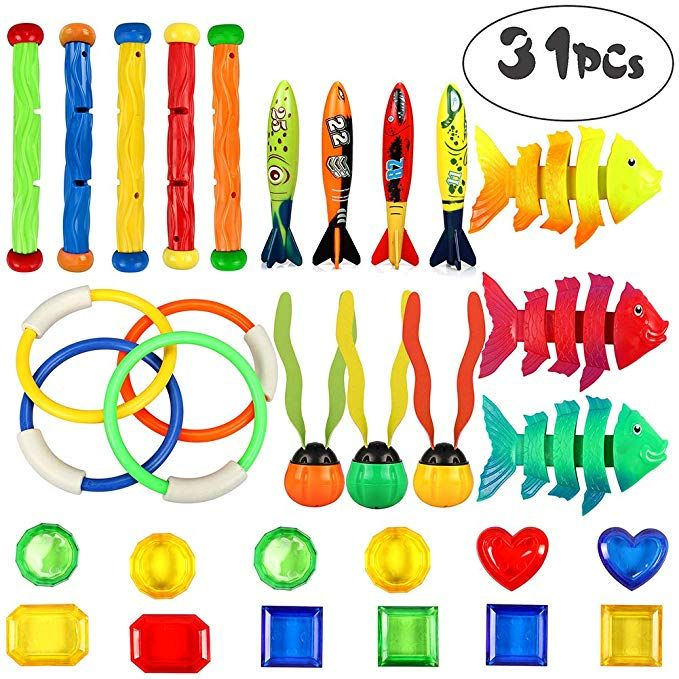 ANNTOY 24 Pcs Diving Toy Set Summer Fun Underwater Sinking Swimming Pool Toy for Kids Boys Girls