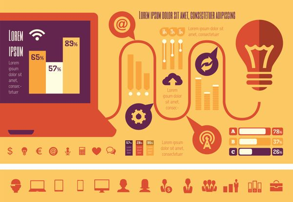 Technology Infographics Elements. Flat Desing, Vector Graphics.