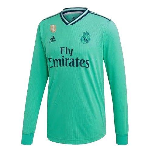 19 20 Real Madrid Third Away Green Long Sleeve Jerseys Shirt In 2020 Long Sleeve Jersey Shirt Jersey Shirt Long Sleeve Jersey