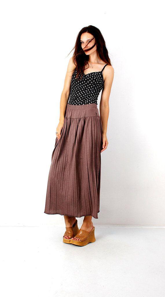 da4f2970ff Vintage Brown Skirt Pleated Skirt Maxi Skirt Ankle Skirt High Waist Skirt  Long Skirt Loose Skirt Basic Simple Skirt Medium - Small