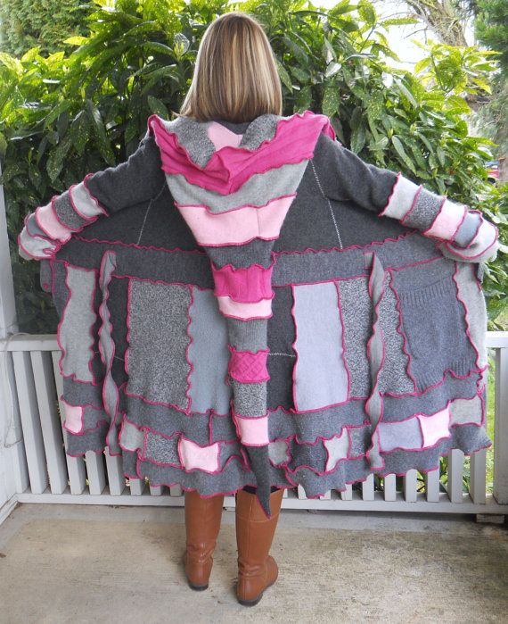 Sweet Pink and Grey Upcycled Sweater Coat by ThankfulRose on Etsy, $225.00
