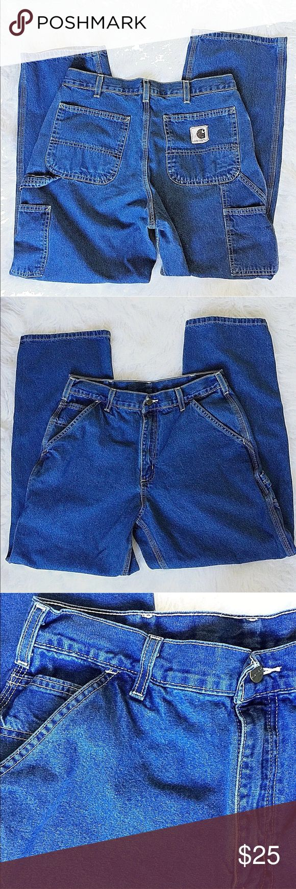 """Carhartt Mens Carpenter Blue Jeans Size 33 X 29 Carhartt Mens Carpenter Denim Blue Jeans Size 33 X 29 Dungarees Work Farm Ranch  Excellent, gently pre-owned condition - no flaws noted  Approximate measurements: Waist 33"""" Inseam 29"""" Rise 12"""" Cuff 9"""" across Carhartt Jeans"""