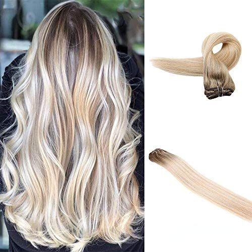 New Easyouth Weft Hair Extensions Human Hair 100g 22 6 Medium Brown Fading To 27 Honey Blonde Highlighted With 60 Platinum Blonde Colored Ombre Sew Weft Hair Extensions Human Hair online shopping