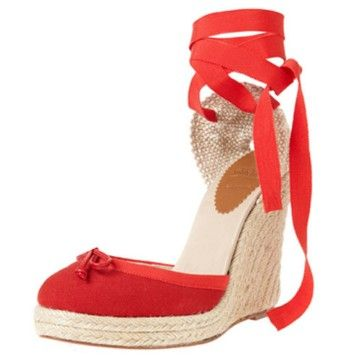 christian louboutin gingham wedge sandals Red and white buckle ...