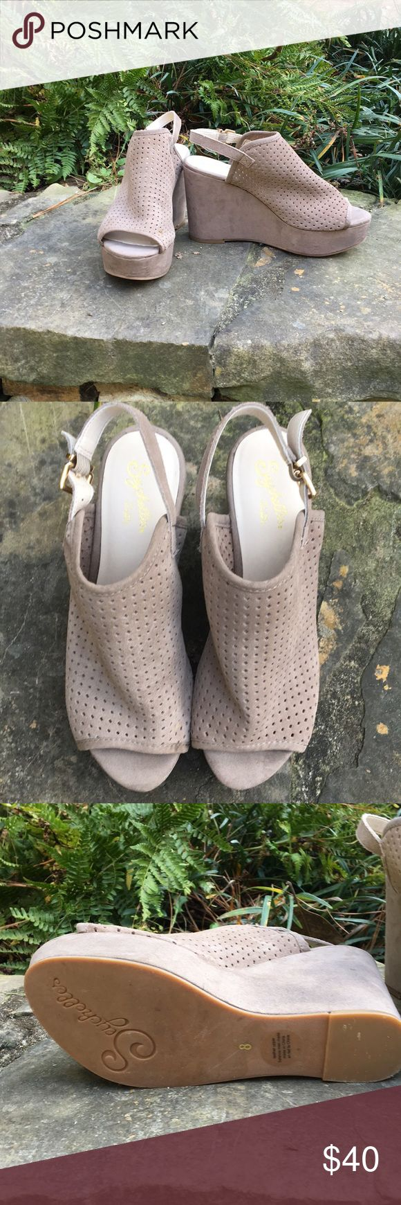 Seychelles neutral wedges- size 8 Worn once- beautiful sand color Seychelles Shoes Wedges