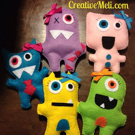 Felt monsters party favors toys hand by CreativeMeliDesigns