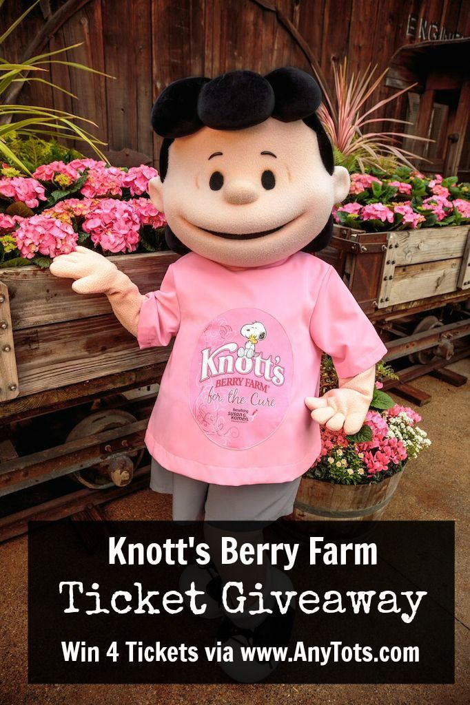 I'm giving away 4 tickets to Knott's Berry Farm on the blog. Visit the theme park in Buena Park California til' March 18 with pink tickets to support KnottsPink, a cause to help fight break cancer in partnership with Susan G. Comen Orange County. You can even purchase pink tickets to help. Maybe take someone who has fought breast cancer when you win the Knott's Berry Farm tickets. Learn more on the blog, www.anytots.com or by clicking Lucy.