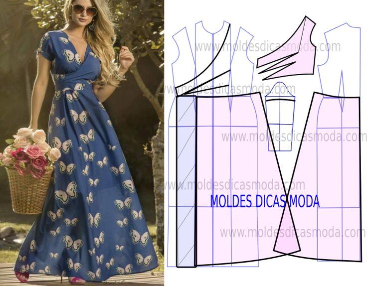 Analise o desenho da transformação do molde de vestido com estampado floral para poder fazer a leitura de forma correta. Desta forma simplifica o seu...