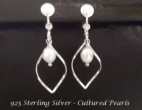 Clip On Earrings with Classy Pearls on 925 Sterling Silver Clip On Earrings | Pearl Earrings @ https://www.etsy.com/shop/EarringsArtisan and https://www.etsy.com/shop/ClipOnEarringsShop #cliponearrings #sterlingsilvercliponearrings #clipearrings #clip #earrings #silverearrings #silvercliponearrings #clipon