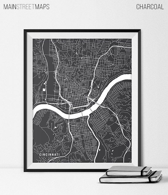 Cincinnati Map Print Cincinnati Poster of Ohio by MainStreetMaps