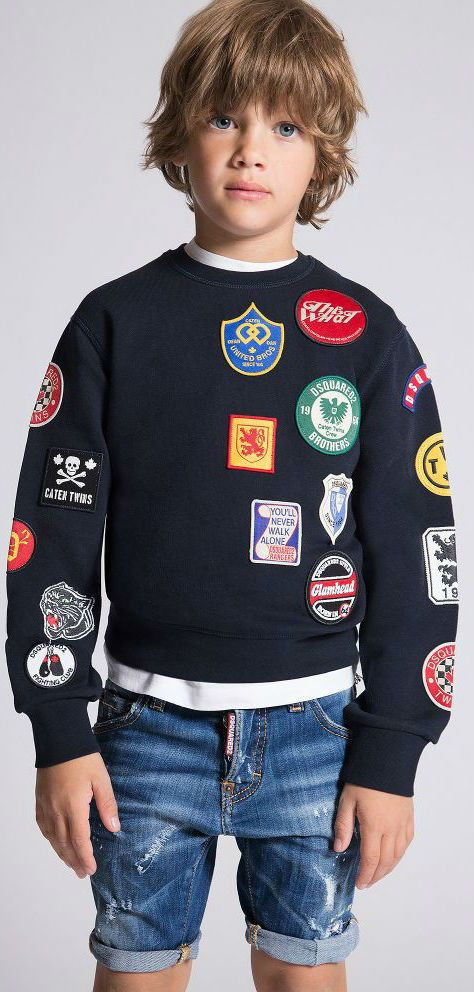 9154da449c0 DSQUARED2 Kids Navy Blue Badges Sweatshirt for Spring Summer 2018. Covered  in fabric patches, this super cool sweatshirt by DSquared2 is perfect for  boys ...