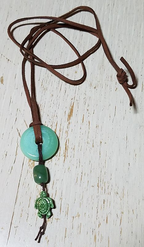 BSBP REVEAL! Jade and a Turtle! I knew right away what I wanted to do with this beautiful jade piece from my partner Jackie Marchant. I did a simple design including the cute little ceramic turtle on a piece of faux suede and am thrilled with it!