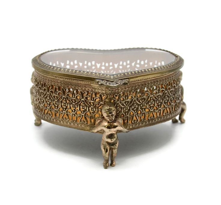 Vintage 1950s 1960 Cherubs Angels Ormolu Gold Filigree Heart Shaped Jewelry Box | Jewelry & Watches, Jewelry Boxes & Organizers, Jewelry Boxes | eBay!