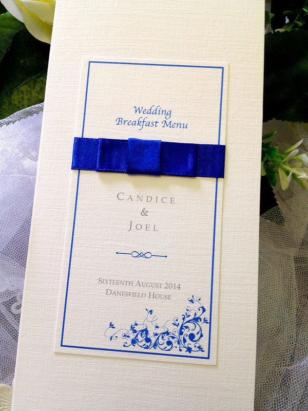 african wedding invitations uk%0A Beautiful  blue  bespoke  wedding  menu  handmade by Perfect Day Weddings