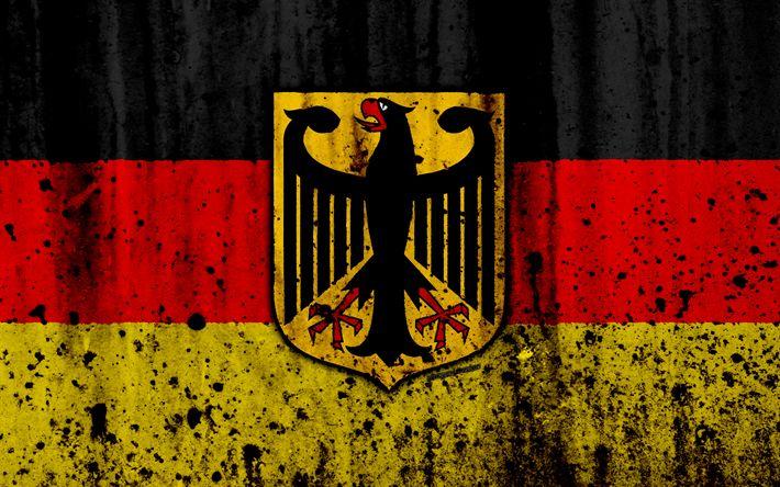 Download wallpapers German flag, 4k, grunge, flag of Germany, Europe, Germany, national symbolism, coat of arms of Germany, German coat of arms