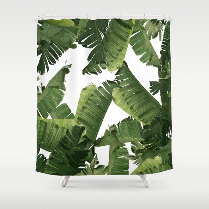 Green Shower Curtain, Tropical Banana Leaf Print, Tropical Leaf Bath Decor, Floral Bathroom Accessories, Tropical Decor, Hollywood Glam Bath by OlaHolaHolaBaby on Etsy https://www.etsy.com/listing/491445717/green-shower-curtain-tropical-banana