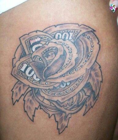100 dollar bill rose tattoo | Tattoo ideas | Pinterest