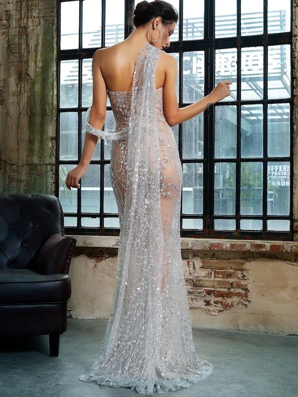 Love Lemonade Split Thigh Sheer Maxi Sequin Mesh Dress Shein Maxi Dress Prom Sequin Mesh Dress Tube Dress