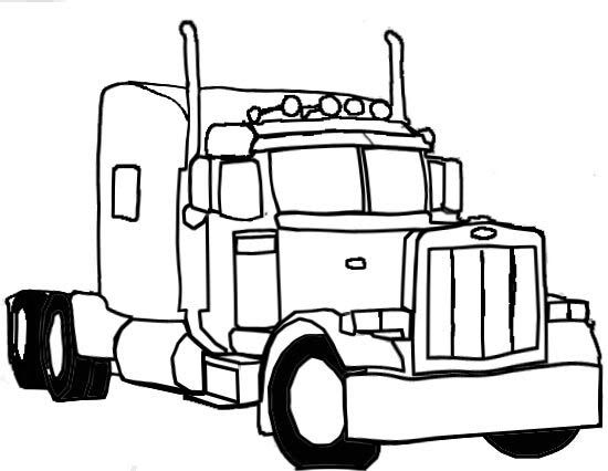 Semi Truck And Trailer Outline Galleryhipcom The