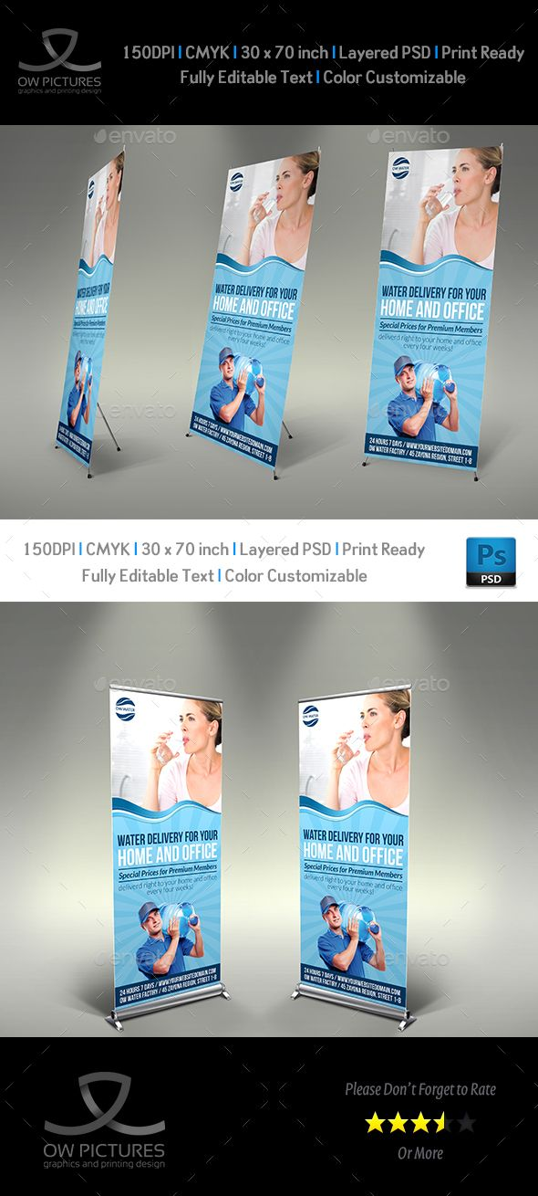 Delivery Drinking Water Service Roll-Up Banner Template PSD #design Download: http://graphicriver.net/item/delivery-drinking-water-service-signagetemplate/14082125?ref=ksioks