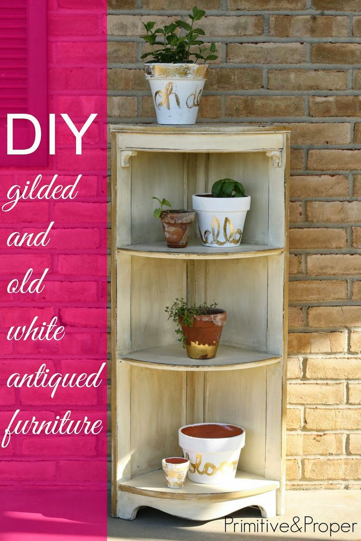 DIY: Gilded and Antiqued Old White Corner Shelf - Great painting tips for achieving this finish, with before and after photos. Love the gilded pots too!
