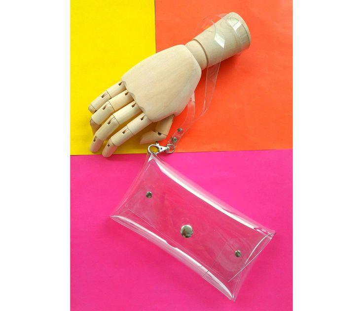 Clear wristlet wallet, iPhone wallet, vegan clutch purse, cellphone wristlet,  transparent clutch, vegan wallet, iphone case, small clutch by YPSILONBAGS on Etsy