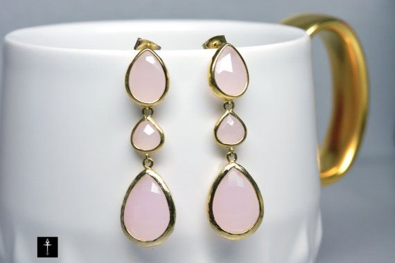 Ice Pink Dangle Earrings Gold Plated with pink glass by BYTWINS