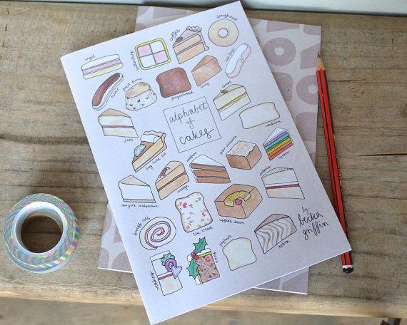 Cake Alphabet Notebook - Recipe Book, Pad, Jotter, Sketchbook - free UK postage on Etsy, $6.15