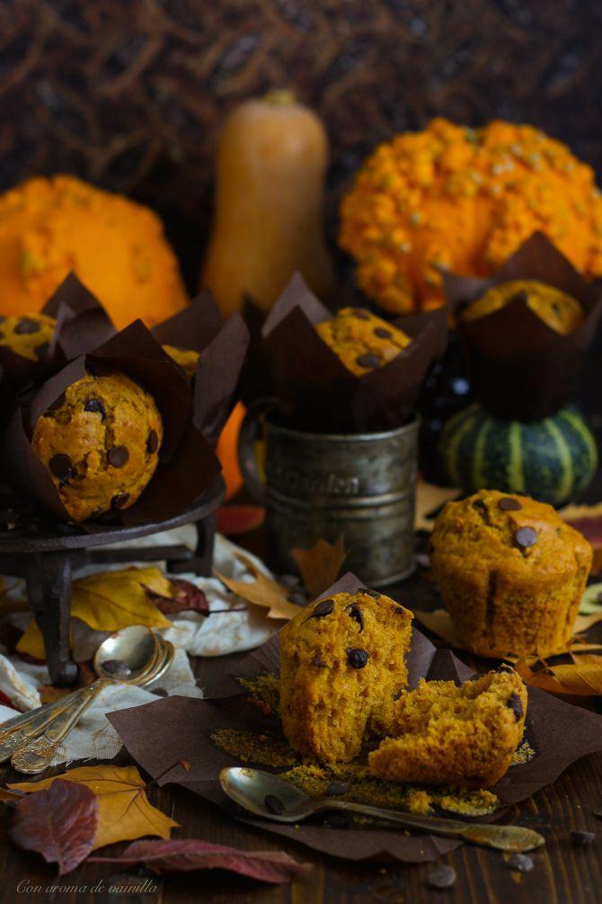 Muffins de calabaza y pepitas de chocolate