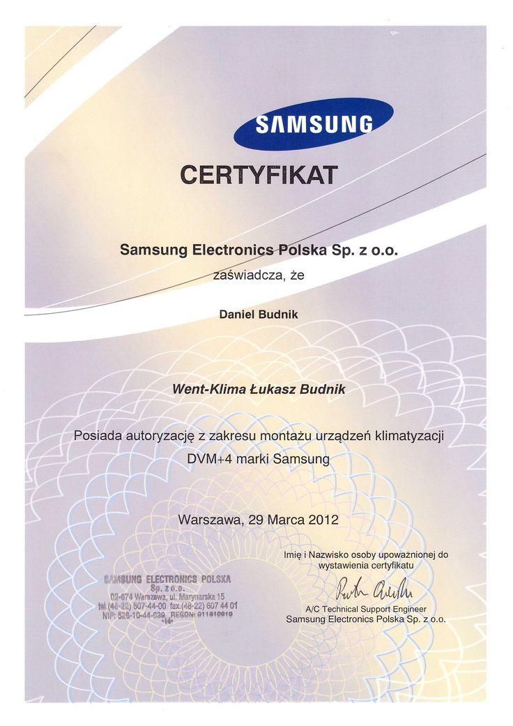 Klimatyzacja firmy Samsung - certyfikat ze szkolenia