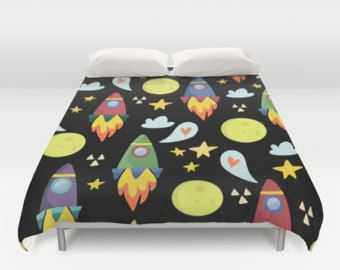 Space Duvet Cover, Space Comforter, Rocket Ships Duvet, Kids Bedroom, Boys Duvet, Astronaut, Outerspace, Moon, stars, space ship, childrens by peppermintcreek. Explore more products on http://peppermintcreek.etsy.com