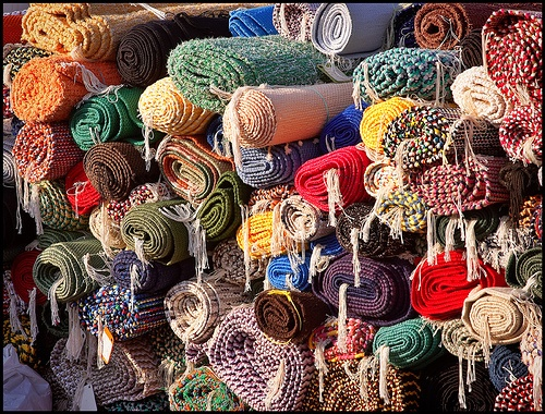 Carpets for sale at a Finnish market