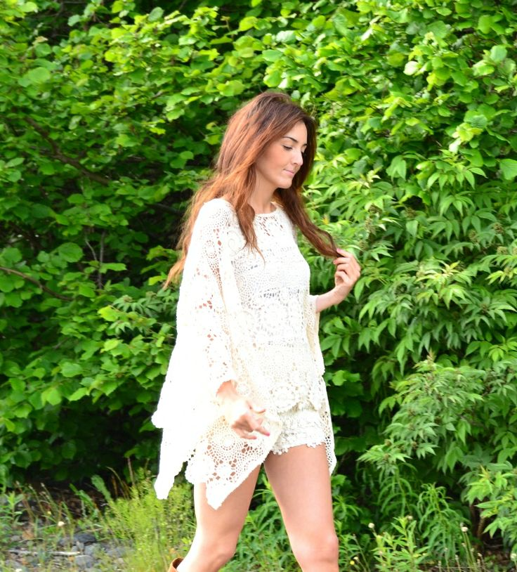 lace poncho and shorts