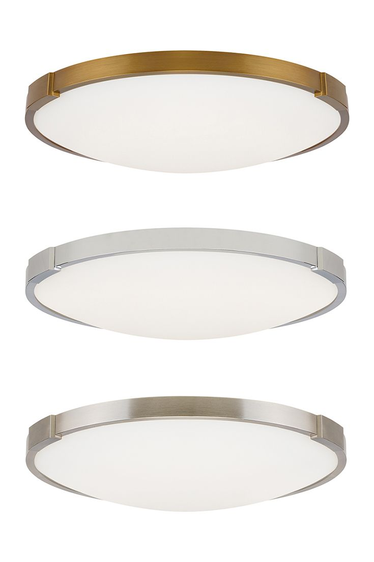 this ceiling light fixture features a thin directmount metal body in a satin nickel chrome or aged brass